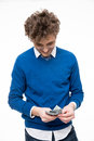 Man in glasses counting money Royalty Free Stock Photo