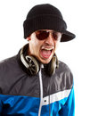 Man in glasses with headphones screaming Stock Photography