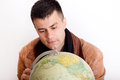 Man with globe Royalty Free Stock Photo