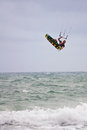Man Goes Airborne Parasail Surfing Off Florida Coast Royalty Free Stock Image