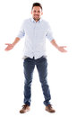 Man going bankrupt with empty pockets isolated over white background Royalty Free Stock Image