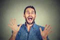 Man going crazy screaming super excited happy young on gray wall background Stock Photos