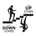 Man going up the stairs , man going down staircase symbol. Royalty Free Stock Photo