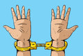 Man in golden handcuffs illustration of a pair of Stock Photos