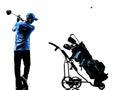 Man golfer golfing golf bag  silhouette Royalty Free Stock Photo