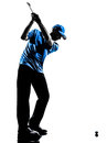 Man golfer golfing golf swing silhouette one in studio isolated on white background Stock Photos