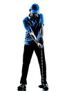 Man golfer golfing golf swing silhouette one in studio isolated on white background Royalty Free Stock Images