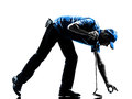 Man golfer golfing silhouette one in studio isolated on white background Stock Photo