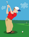 Man golfing at golf course swinging club at ball on tee Royalty Free Stock Photography