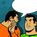 Man gossip with speech bubble comic book style illustration of two speaking gossiping Stock Photo