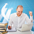 Man and graph business background Stock Photography
