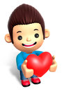 A Man Grasp a Heart. 3D Children Character Stock Photos