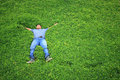 Man on the grass or people sleep in the garden. Royalty Free Stock Photo