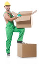 Man in green coveralls with boxes Stock Photos