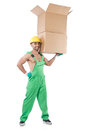 Man in green coveralls with boxes Stock Images