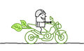 Man on green moto hand drawn cartoon characters Stock Photo