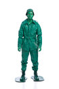 Man on a green toy soldier costume Royalty Free Stock Photo