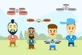 Man group ocasional com o tiro aéreo de controle remoto da câmara de vídeo do zangão Imagem de Stock Royalty Free