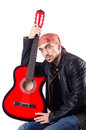 Man with guitar isolated on white Royalty Free Stock Photo