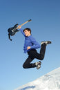 Man with guitar jumping Stock Photo