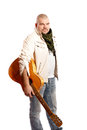 Man with a guitar serious middle years on white background Royalty Free Stock Photos