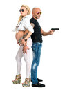 Man with a gun and pregnant woman women on white background Royalty Free Stock Image
