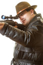 Man with gun secret agent rifle waits extraction Stock Image