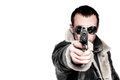 Man with gun in sunglasses isolated on white background Stock Image