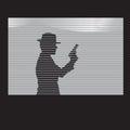 Man with a gun in window