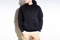 Man, guy in Blank black hoodie, sweatshirt, mock up isolated. Pl Royalty Free Stock Photo