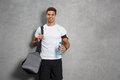 Man with gym bag Royalty Free Stock Photo