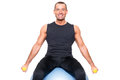 Man on gymnastic ball sport Royalty Free Stock Photography