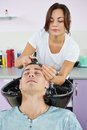 Man hair washing in hairdressing salon men client beauty parlour Royalty Free Stock Photos