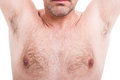 Man hairy underarms or armpits isolated on white Royalty Free Stock Photo