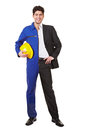 Man half in jump suit and business young standing a clothing Royalty Free Stock Photos