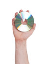 Man hand with compact disc Royalty Free Stock Photo
