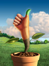 Man hand green thumb growing pot digital illustration Royalty Free Stock Photo