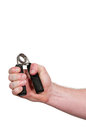 Man with hand grip exerciser Royalty Free Stock Photo