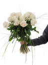 Man hand holding bunch of white roses Stock Photography