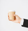Man hand holding take away coffee Royalty Free Stock Photo