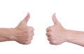 Man hand holds finger symbol white background Royalty Free Stock Photos