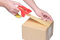 Man hand packing box with tape on cardboard box. Royalty Free Stock Photo