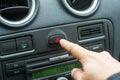 Man Hand Pressing Car Hazard Lights Button Royalty Free Stock Photo