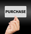 Man hand touching button purchase keyword. Royalty Free Stock Photo