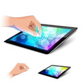 Man hand is touching tablet pc to make gesture. Stock Photography