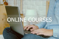 Man hand typing laptop and online courses word, e-learning conce Royalty Free Stock Photo