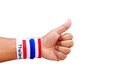 Man hand with wristband which thailand flag colors Stock Photography