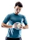 Man handball player isolated Royalty Free Stock Photo