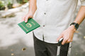 Man hands holding Vietnamese Passport. Ready for traveling. Royalty Free Stock Photo