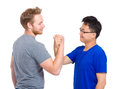 Man handshake for friendship and respect isolated on white Royalty Free Stock Photos